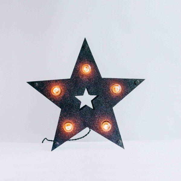 Чёрная loft звезда с лампочками и блёстками – декор от семейной мастерской Family Lights