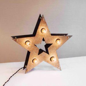 Золотая loft звезда с лампочками и блёстками – декор от семейной мастерской Family Lights