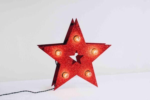 Красная loft звезда с лампочками и блёстками – декор от семейной мастерской Family Lights
