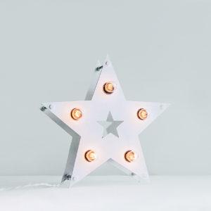 Белая звезда с лампочками в стиле Loft – декор от Family Lights