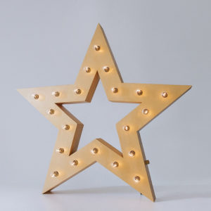 Жёлтая звезда с лампочками и отверстием, тип Box – декор от Family Lights