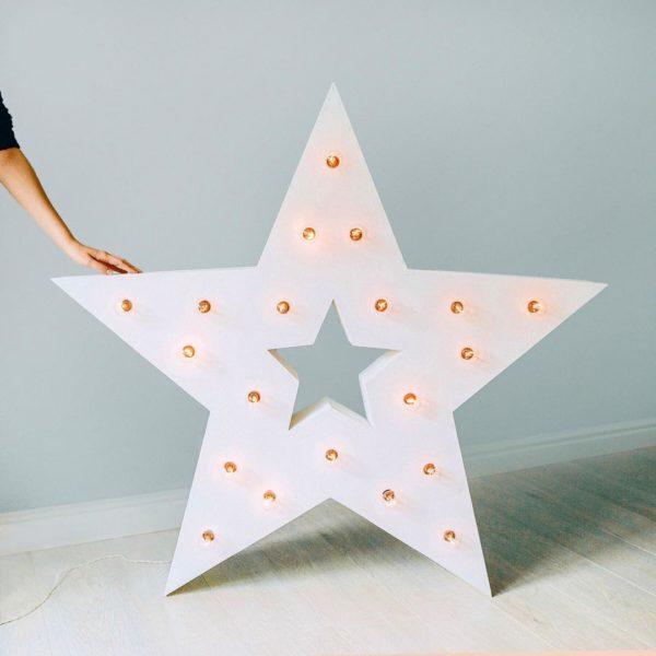 Белая звезда Box с отверстием и лампочками от Family Lights