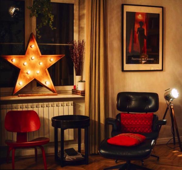 Звезда из дерева с лампочками, тип Open Box – декор от мастерской Family Lights