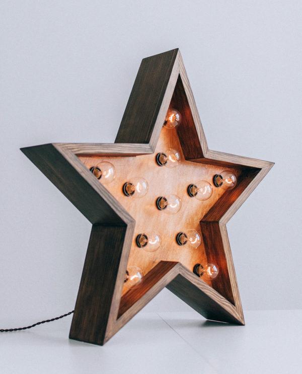 Звезда с лампочками ThinOpenBox с бортиком от семейной мастерской Family Lights