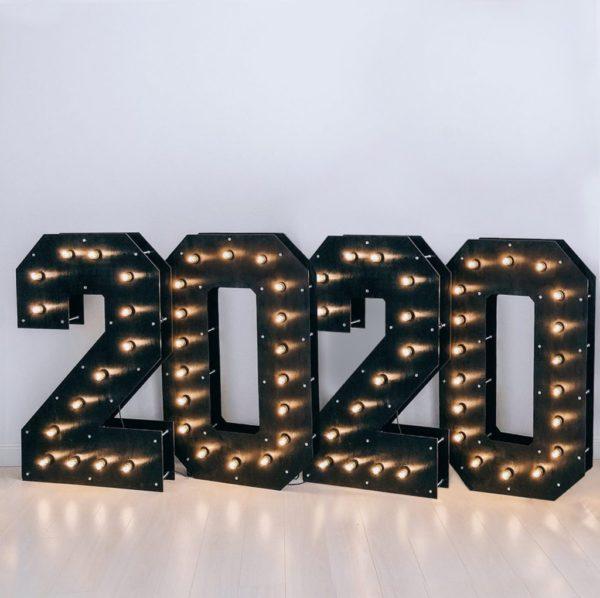 Декор - цифры 2020 с лампочками Family Ligths