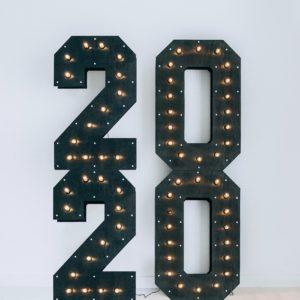 Чёрные цифры с лампочками в стиле loft от Family Lights